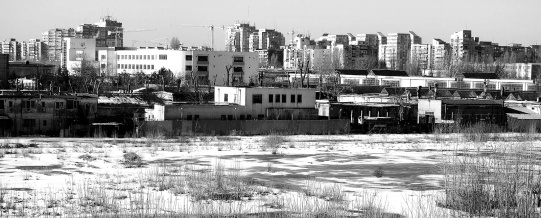 bucharest cityscape snow buildings