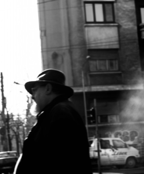 Old man profile with hat beard and glasses black and white